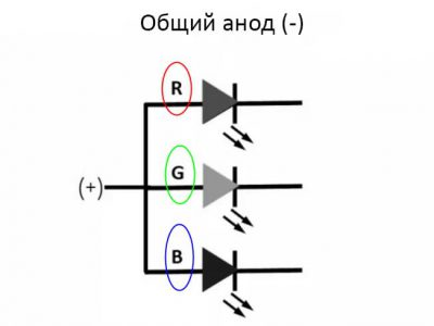 схема RGB с общим анодом